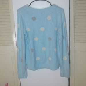 Lauren Conrad Blue Polka Dot Fuzzy Sweater Sz M